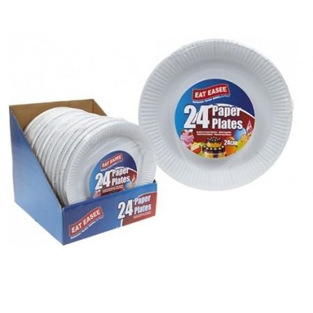 "24 PACK 9"" WHITE PAPER PLATES"