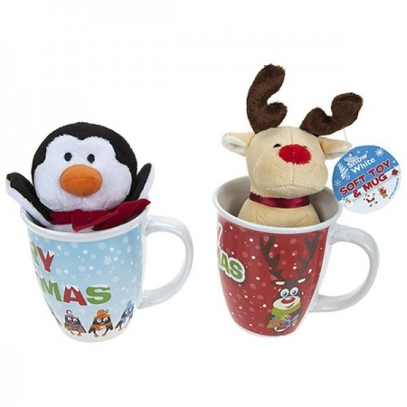 Kids Novelty Christmas Plush In 14oz Mug