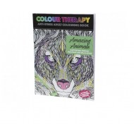Colour Therapy 64pg Animals Adult Colouring Book