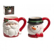 Novelty Shaped Santa or Snowman Mug