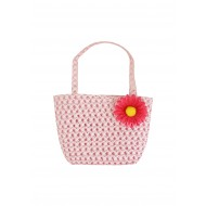 Pink Woven Bag with Flower